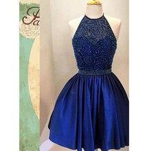 hot kurze prom kleider backless königsblau eine linie neckholder schwere perlen cocktail formale party kleider vestido de noiva