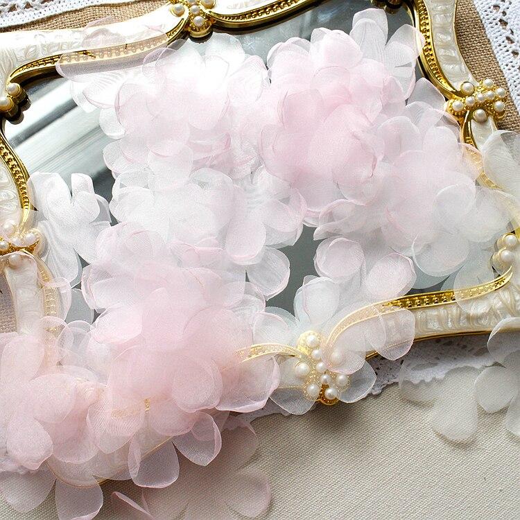 100pcs/lot 10colors DIY Handmade 3D Flower patch for Wedding Dress Organza flowers Headwear dresses hat decorative appliques