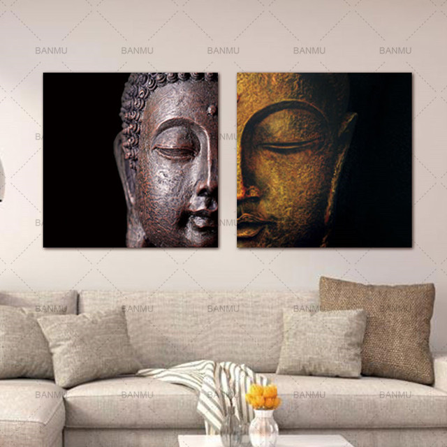 Free Shipping Oil Painting Buddha Head Decoration Painting Home