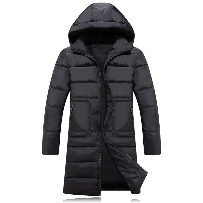 Winter Men Jacket 2017 Brand Casual Mens Jackets Thick Parka Coats Men Cotton Jacket Solid Long Style Men Cotton Coat X572