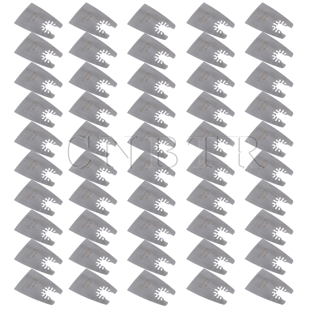 CNBTR 50 PCS 52mm Sliver Quick Release Stainless Steel Oscillating Flat Scraper 50 52
