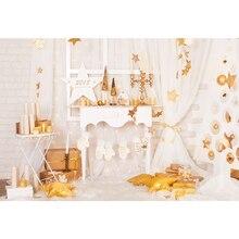 Parede de Tijolo branca Crianças Velas de Natal Cenário Impresso Janela Cortina de Estrelas de Ouro Meninas Do Bebê Interior Xmas Party do Fundo Da Foto