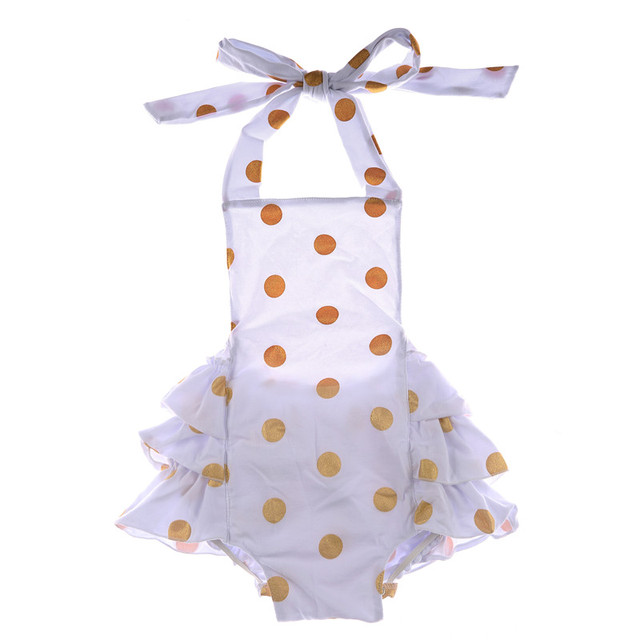 2764c5130d34 2016 New Design Cheap Baby Toddler Clothing Wholesale Gold Polka Dots White  Baby Bubble Romper For Young Babies Girls And Boys