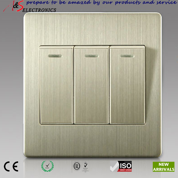 Luxurious Stainless Steel 3 Gang One Way Light Switches