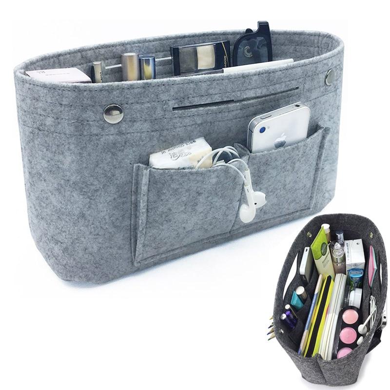 Makeup Storage Organizer,Felt Cloth Insert Storage Bag Multi-pockets Fits in Handbag Cosmetic Toiletry Bags for Travel Organizer