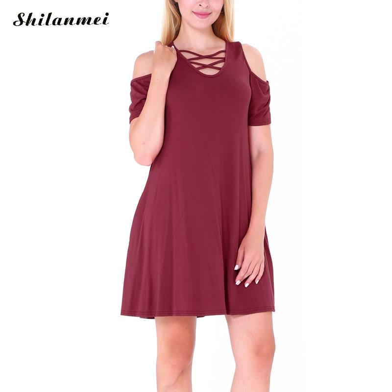 Shilanmei 2017 fashion A-line Dress hollow loose style off the shoulder office pocket dress sundress party mini rockabilly dress