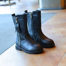703270e29 WENDYWU boys leather boots black boots for toddler pu leather shoes baby  girls brand mid calf