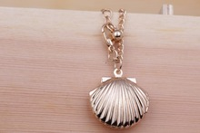 Seashell Locket Necklace Jewelry Mermaid Locket, Beach Wedding Jewelry Delicate necklace 3 colors selection N101