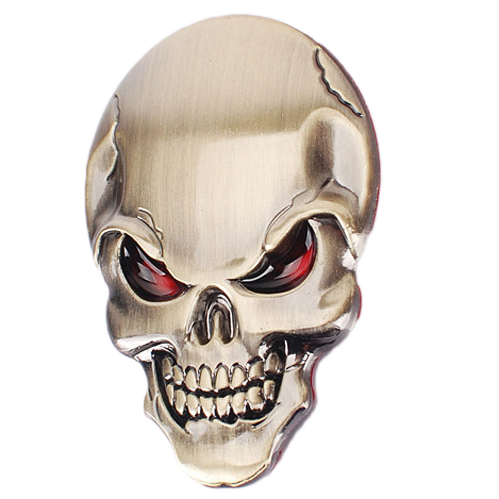 3 colors 3D Metal Skull Car Sticker for All Cars Useful Design Car Stickers