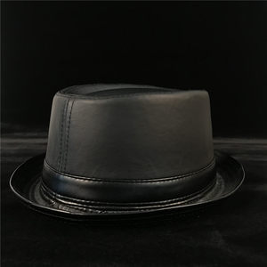 Image 4 - 100% Leather Men Balck Pork Pie Hat For Dad Fedora Hat Fasgion Gentleman Flat Bowler Porkpie Top Hat Size S M L XL
