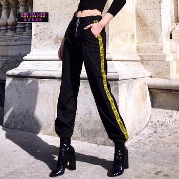 New High Waist Slacks Wear Stitching Collision Black Colour Leggings Rave Clothes Jazz Dance Stage Performance Hip Hop Costume  off white caution sweater