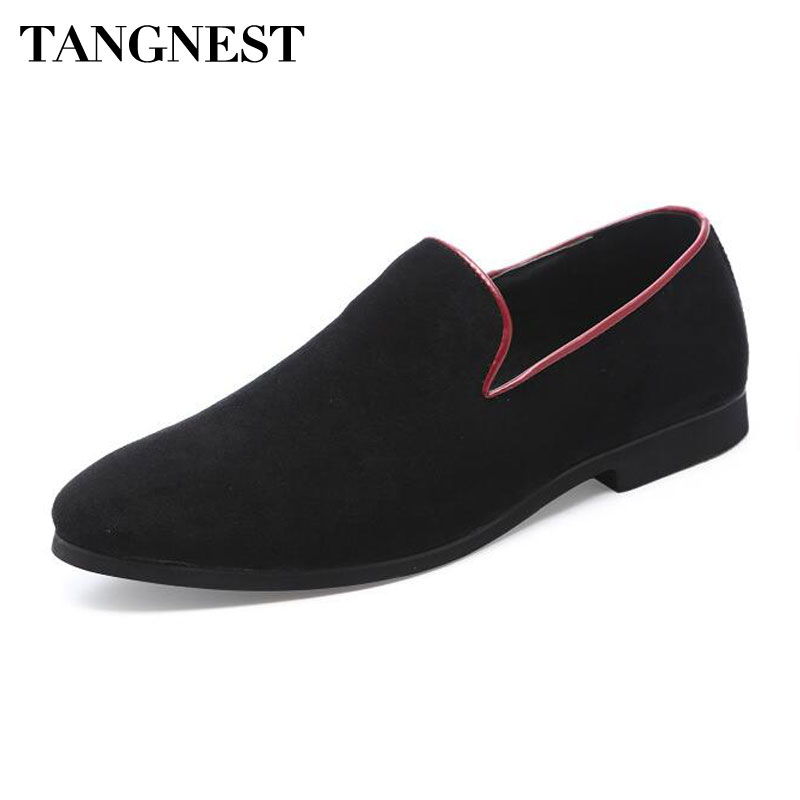 Tangnest NEW Autumn Bordered Men's Loafers Casual   Suede     Leather   Driving Shoes For Men Shallow Slip-on Flats Size 37 ~46 XMR3091