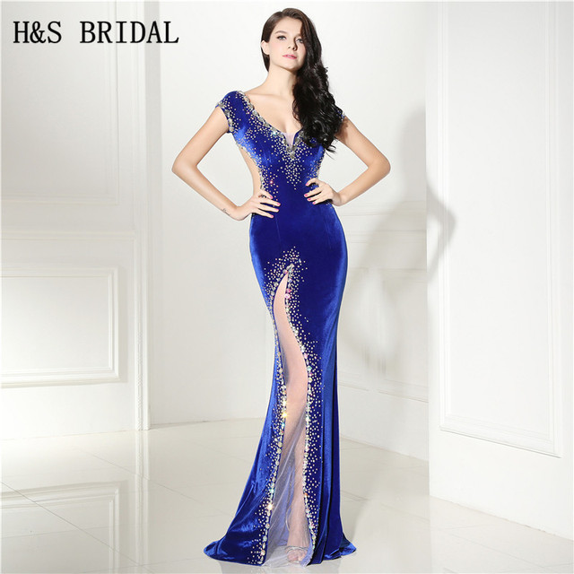 c5f4c91e57 H   S NUPCIAL Do Vintage de Veludo Sexy Azul Royal Vestido de Noite Lateral  Transparente