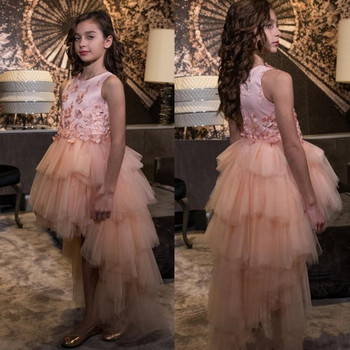 New Coming Tulle High Low Princess Dress with 3D Floral Appliques Zipper Back Custom Made Flower Girl Dress For Wedding Vestidos
