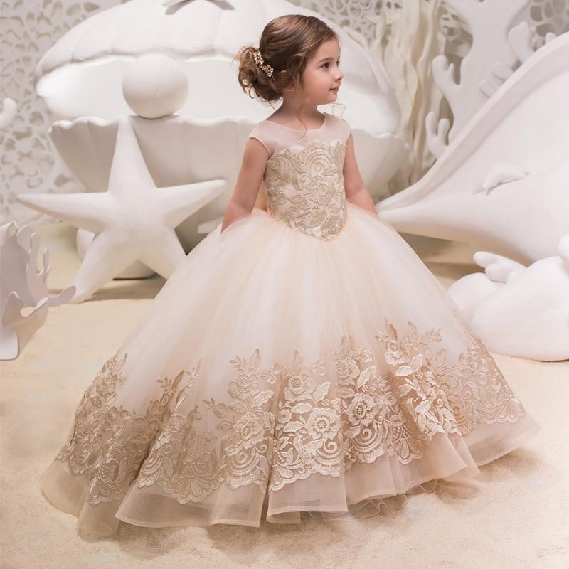 Performance Trailing Lace Princess Dress Wedding Long Dress First Communion Girls Flower  Ball Gown Children Clothing Vestidos