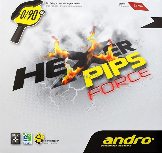 Andro Hexer Pips Force Out Table Tennis Rubber Black Red 21mm