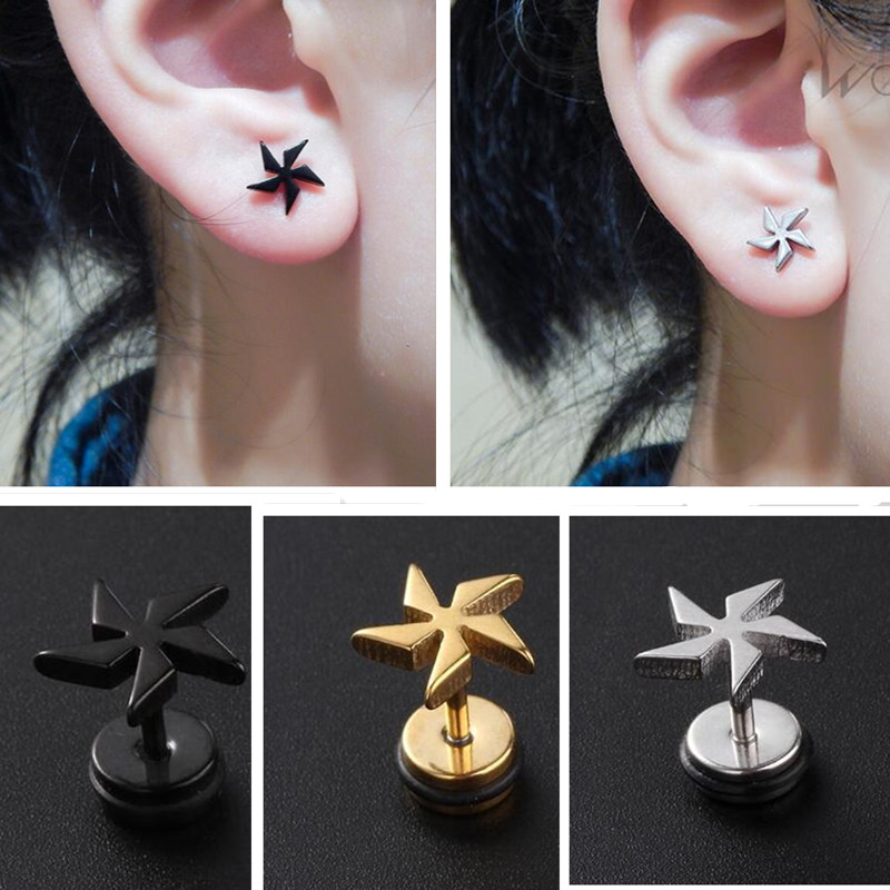 6651154d7 50pcs Free Shippment Body jewelry-Women Men PUNK Ear Stud Earring Hoop Ear  Piercing Stainless Steel ...