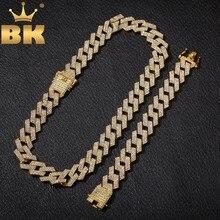 BLING KING 20mm Miami Prong kubański łańcuch NE + BA 3 wiersz pełna Iced Out naszyjnik ze strasu i bransoletka mężczyzna Hiphop zestaw biżuterii
