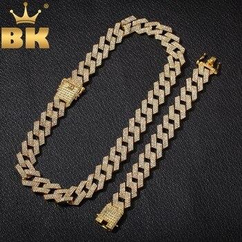 Le BLING KING 20mm Miami broche chaîne cubaine NE  BA 3 rangées de strass complètement glacé collier et Bracelet hommes Hiphop ensemble de bijoux
