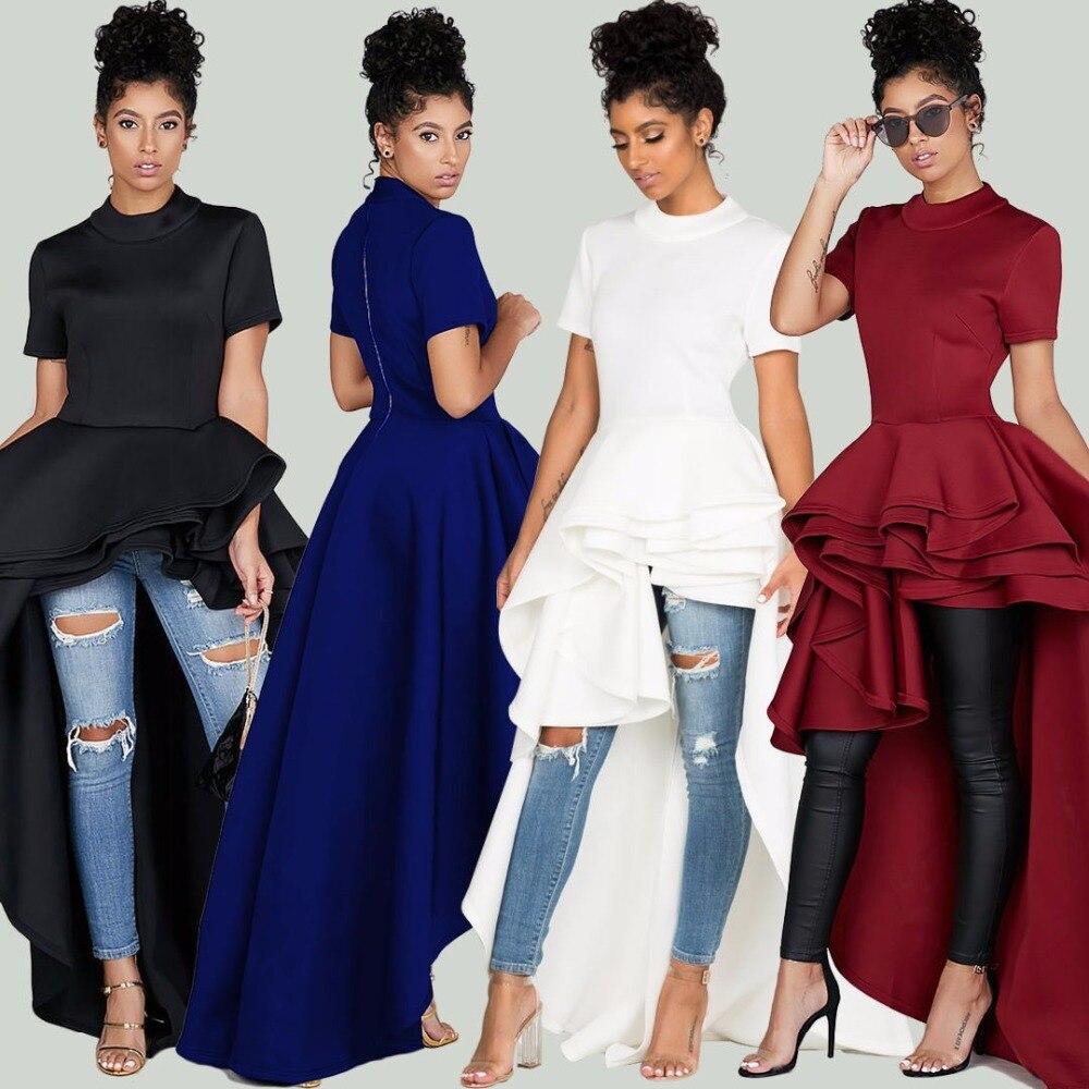 da3ccdbdd6a6f US $27.45  Asymmetric High Low Cascading Ruffles Party Dress Women Short  Sleeve Peplum Oversize Back Zipper Mid Calf Dress Mujer Vestidos-in Dresses  ...