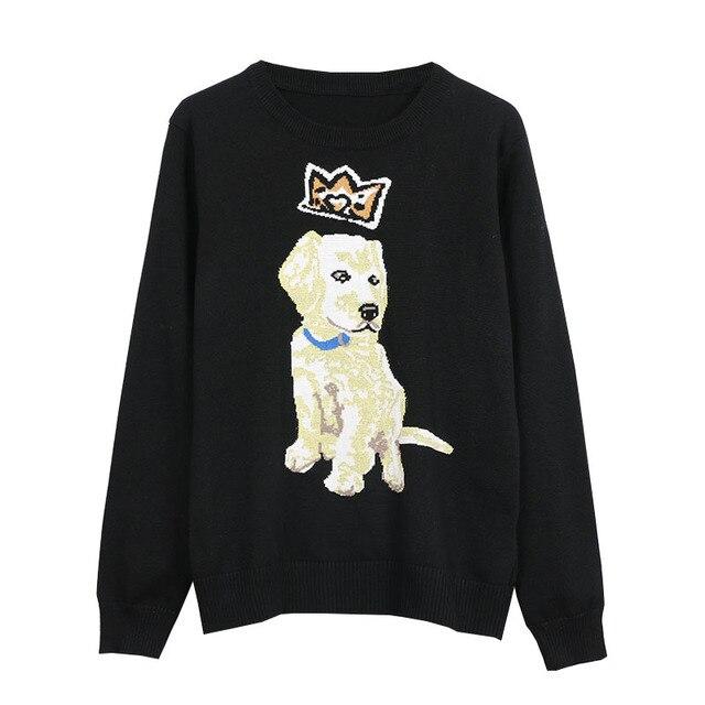 Ehmaxrth Pat Dog Pattern Shirt 2018 New Street Animal Cute Design Women Wild Black Long Sleeves Pullover Runway Sweaters E8649
