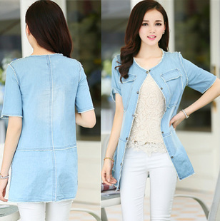 7ff1218e Fashion Denim Shirt Women Short Sleeve Lapel Button Down Cotton Outerwear  Cardigan Blouse Tops Light Blue M-XXL Drop Shipping