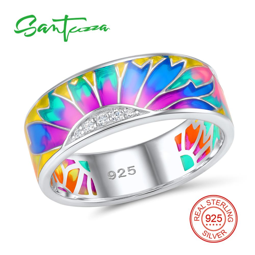 Silver Ring for Women Rainbow Enamel Ring Pure 925 Sterling Silver Female Ring Party Fashion Jewelry