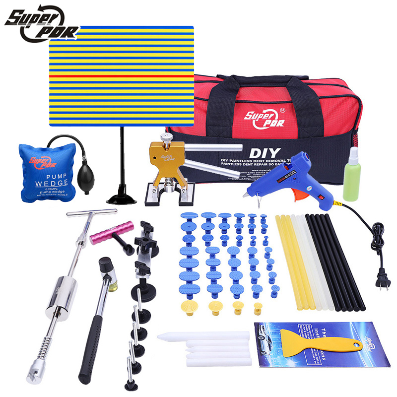 PDR Car body dent removal tools set Paintless Dent Repair tool kit yellow line Reflector glue gun slide hammer hand tool kit 147 pcs portable professional watch repair tool kit set solid hammer spring bar remover watchmaker tools watch adjustment