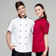 (5 get 20% off,10 get apron)Man/woman chef uniform chef clothes wine red/white short sleeve restaurant hotel kitchen coverall