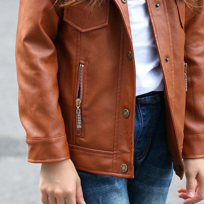 ec4897397 Cool Brown Bomber Leather Jacket Girl Girls Coat Kids Winter Jackets ...