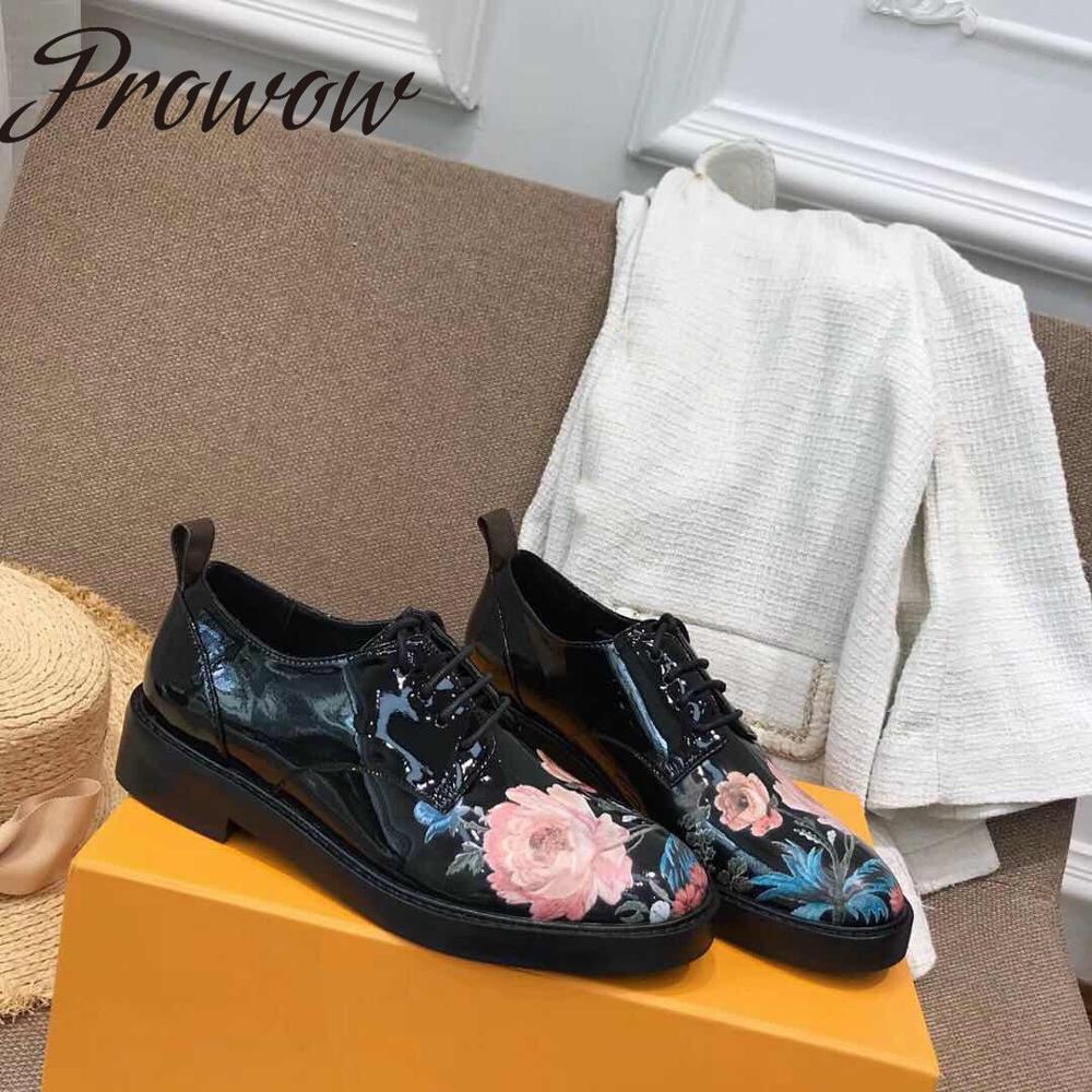 Prowow/Новинка; качественные летние туфли на плоской подошве с цветочным принтом; модельные туфли на шнуровке с круглым носком; женская обувь на плоской подошве