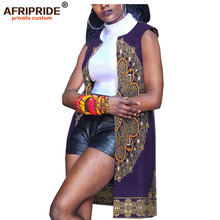 2019 spring&autumn africa casual women coat AFRIPRIDE tailor made sleeveless o-neck knee length cotton for A1824006