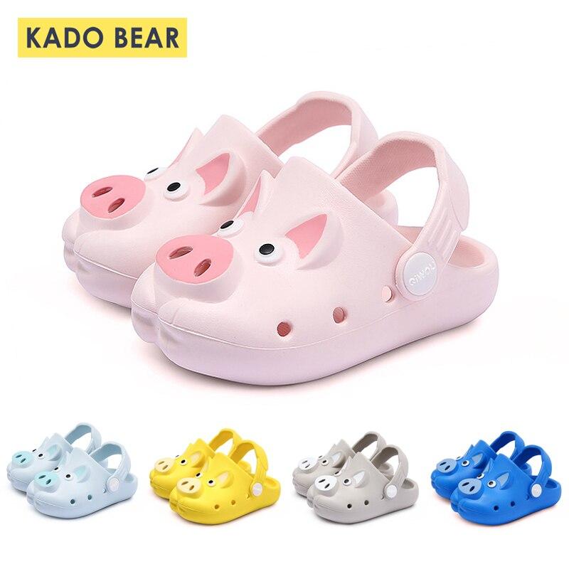 Kids Funny Cartoon Pig Slippers Baby Girl Boy Indoor Home Cave Shoes Children Soft Beach Water Flip Flops Outdoor Garden Sandals