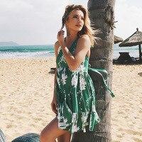 DERUILADY Sexy Backless Girl Beach Floral Print Dresses On Vacation Deep V Sleeveless Bandage Dress Ruffles