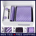 Men 's 100% Jacquard seda straped corbatas Tie pañuelo gemelos conjuntos para hombre del banquete de boda Formal novio envío gratis