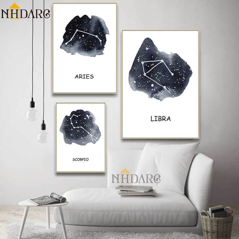 Constellation Nursery Wall Art Canvas Prints Poster Astrology Sign Minimalist Geometric Painting Nordic Kids Decoration Pictures