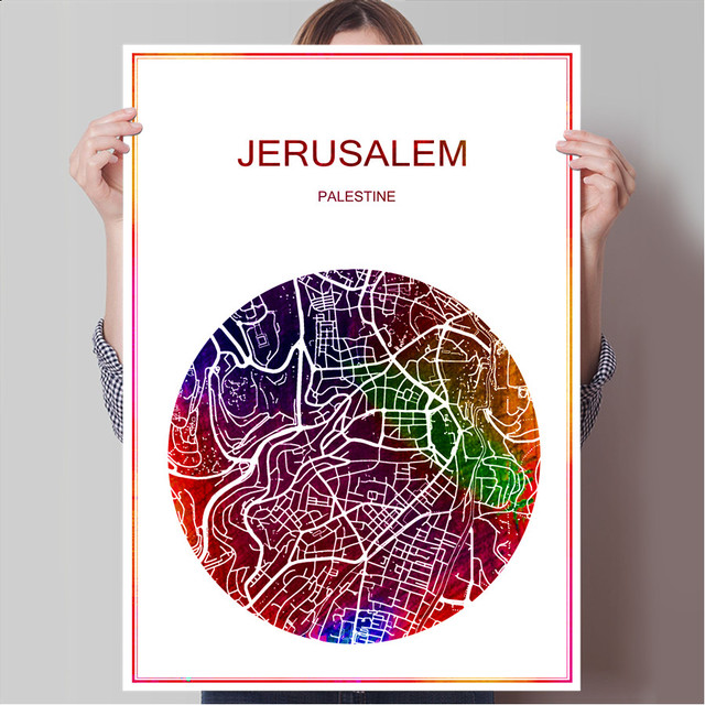 Abstract world city map jerusalem palestine print poster print on abstract world city map jerusalem palestine print poster print on paper or canvas wall sticker bar gumiabroncs Choice Image