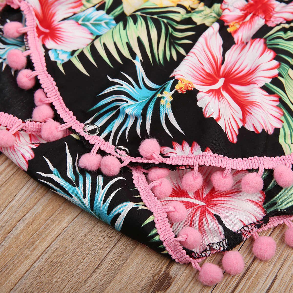 2 шт. pudcoco новорожденных для маленьких девочек Летняя мода черный цветок кисточкой О-образный воротник, без рукавов боди + повязка 0-24 м
