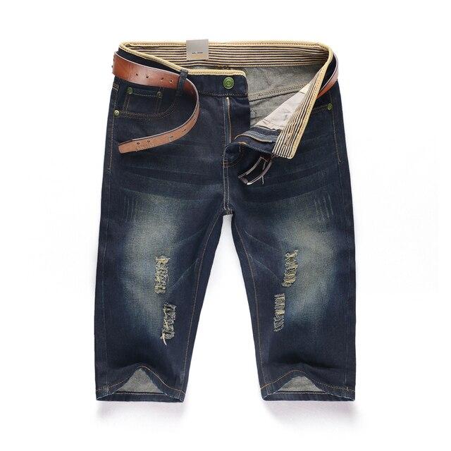 Мужская большой размер отверстия короткие джинсы Новый летний Мужчина джинсовые шорты Без ремня Размер 28-44