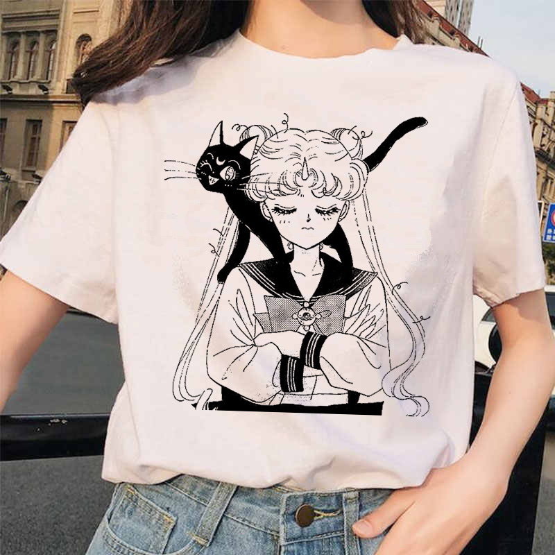 Sailor Moon 90s funny   T     Shirt   Harajuku clothes Tshirt Aesthetic cat Anime Women Cute Female   T  -  shirt   Kawaii Tees Fashion Ullzang