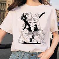 Sailor Moon 90s funny T Shirt Harajuku clothes Tshirt Aesthetic cat Anime Women Cute Female T-shirt Kawaii Tees Fashion Ullzang