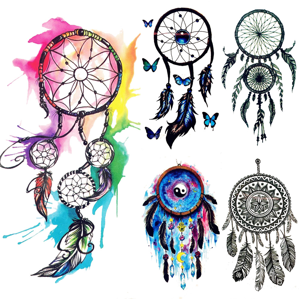 Tribal Tattoo With Color: Water Color Dreamcatcher Tribal Temporary Tattoo Women