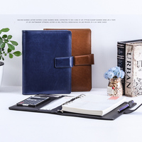 A5 PU leather Refillable Spiral Loose Leaf Notebook Travel Journal dokibook filofax planner agenda padfolio with calculator 1192