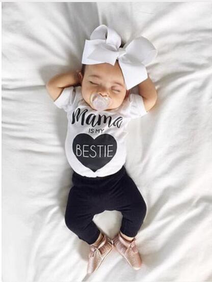 2fcef5436 Nuevo 2019 ropa de bebé de moda ropa de verano para niña conjunto de ropa  de manga corta para Bebé Ropa de recién nacido traje de ropa infantil en  set de ...
