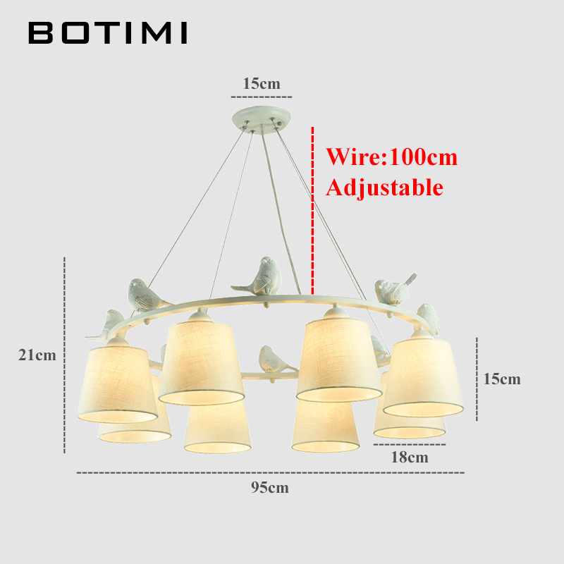 Image 4 - BOTIMI White Birds LED Chandelier with Linen Lampshades E27 Cloth Chandeliers For Living Room Romantic Kitchen Lighting Fixtures-in Chandeliers from Lights & Lighting