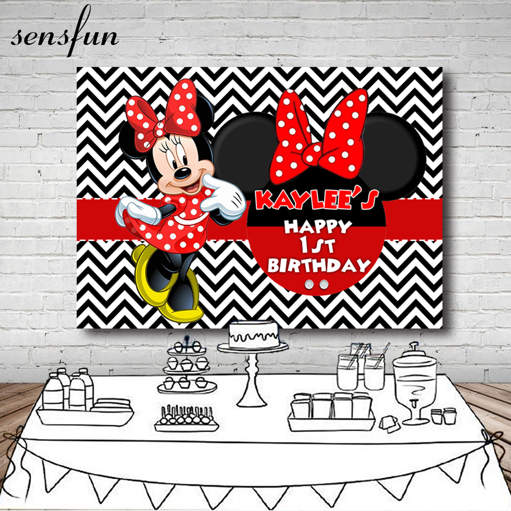 Sensfun Minnie Dance Polka Dots Girls Birthday Party Backdrop Black And White Wave Striped Backgrounds 7x5ft