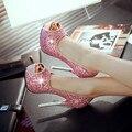 C1131 Mujeres 14 cm bombas peep toe de tacón alto de Pescado Sandalias de la boca zapatos de boda plataforma mujer nightclub zapatos de fiesta de tamaño 34-42