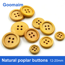100pcs fashion natural color Poplar wood buttons for jeans round sewing overcoat clothing Handmade material button