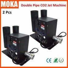 2 unids/lote Doble Tubo Máquina de Chorro de CO2 dmx etapa de efectos especiales crio co2 pistola de chorro de co2 máquina de pulverización de niebla 10 m con manguera