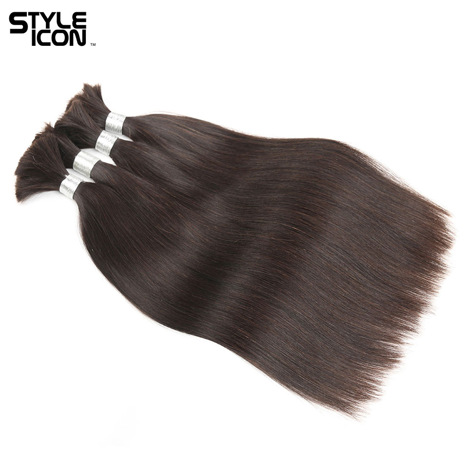Styleicon Hair Indian Straight Human Hair Bulk 4 Bundles Deals Remy Bulk Hair For Braiding No Wefts Natural Black Tangle Free